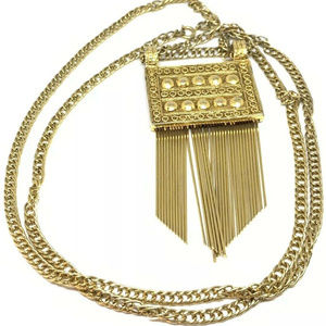 Vintage Gold chain Etruscan Necklace Tassels